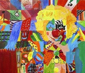 Eindresultaat schilderij YouXpose ten bate van CliniClowns
